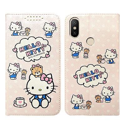 Hello Kitty貓 小米A2 粉嫩系列彩繪磁力皮套(小熊)