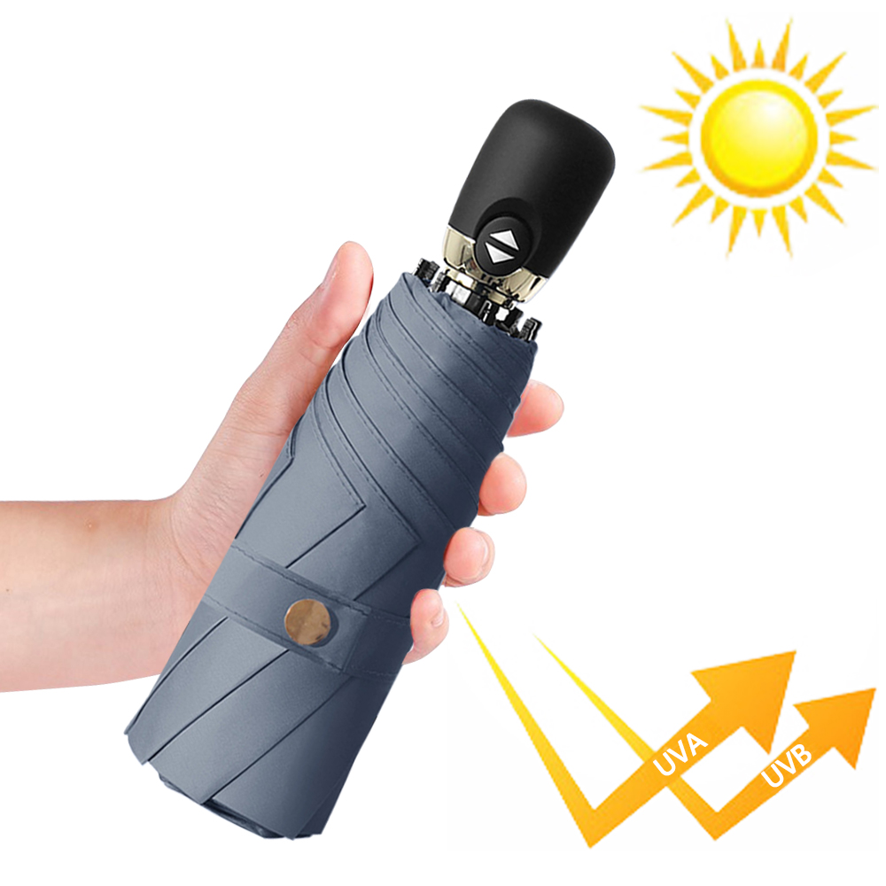 幸福揚邑  鈦防曬抗UV降溫UPF50+全自動8骨晴雨口袋迷你五折疊傘-霧藍