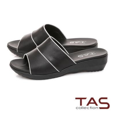 TAS 寬版一字涼拖鞋-人氣黑