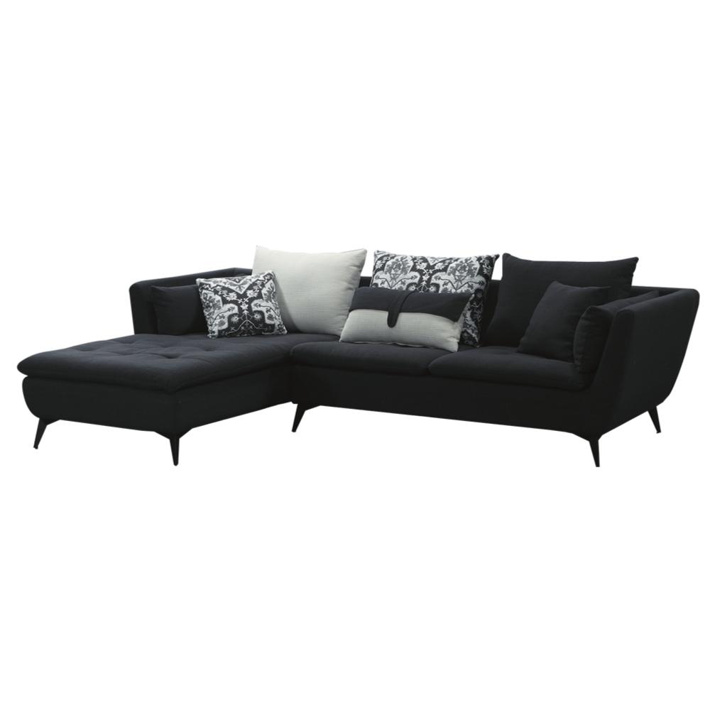 文創集 菲力 現代黑透氣亞麻布L型沙發組合-284x170x70cm免組