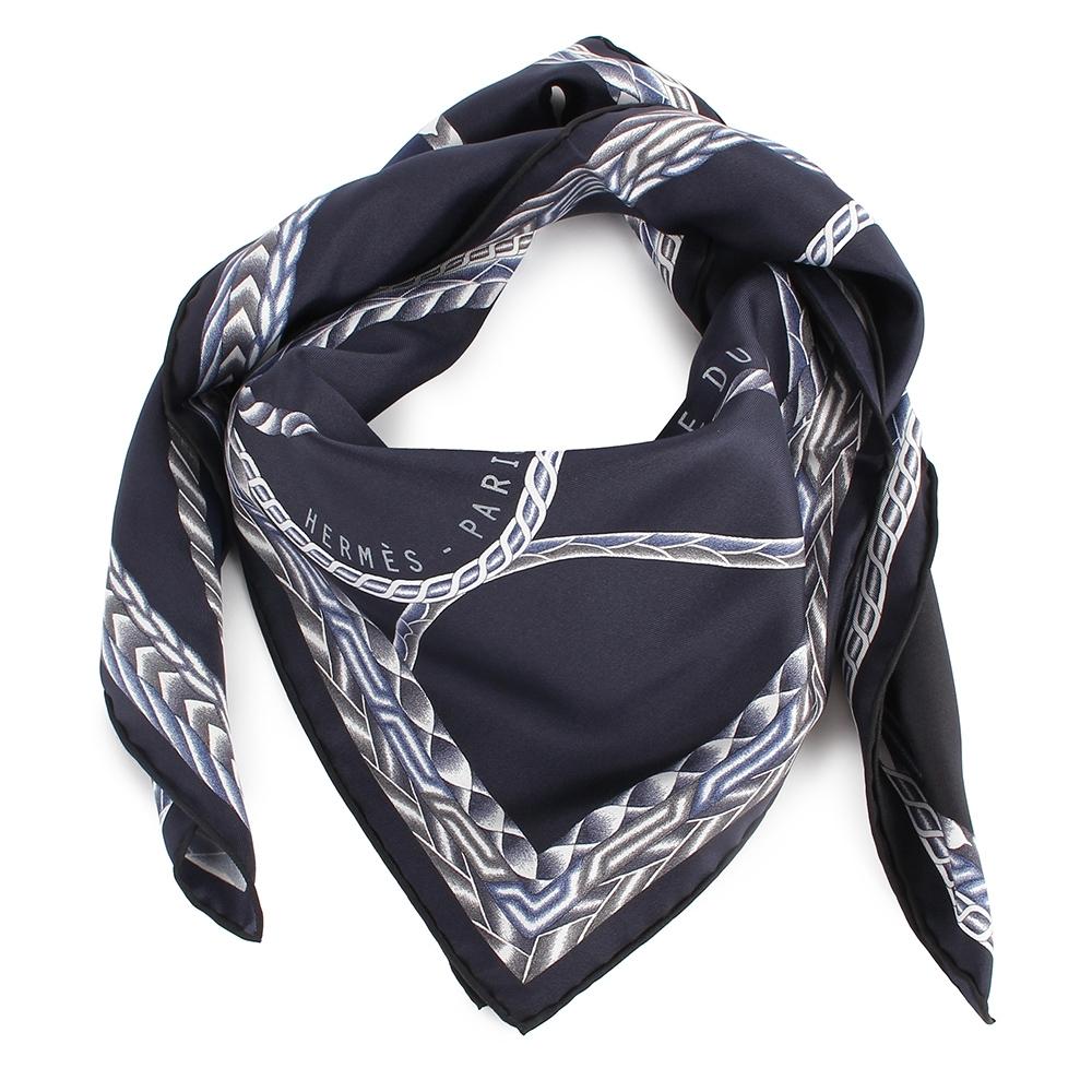 HERMES  綁繩馬頭圖騰披肩方型絲巾-黑色