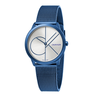 CALVIN KLEIN minimal 系列簡約腕錶-藍色銀面/35mm