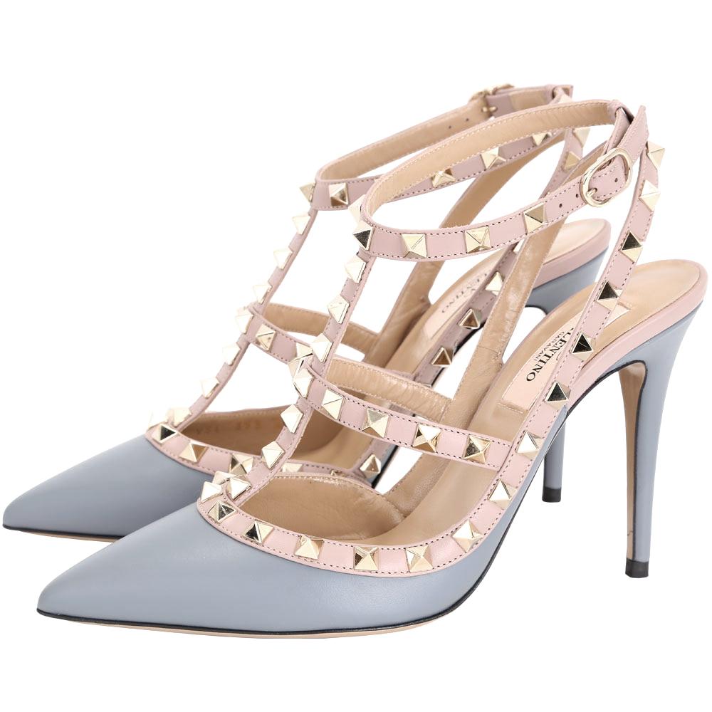 (無卡分期12期)VALENTINO ROCKSTUD 鉚釘繫帶高跟鞋-灰藍