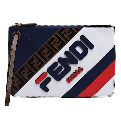FENDI MANIA系列品牌LOGO牛皮拉鍊手拿包(中-藍X紅)