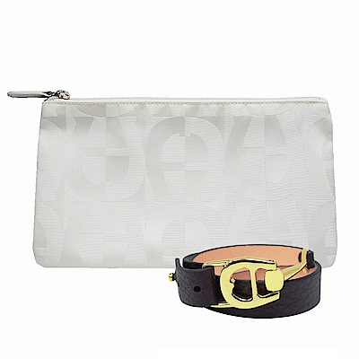 AIGNER-限量-緹花化妝包-白+LOGO皮手鍊-咖啡