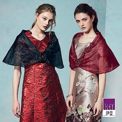ILEY伊蕾 優雅捏花禮服披肩(黑/紅)