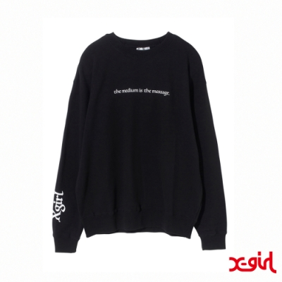 X-girl PSYCHEDELIC FACE CREW SWEAT TOP大學T-黑