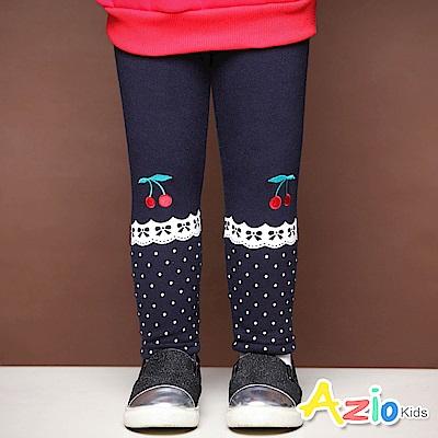 Azio Kids 長褲 櫻桃刺繡蕾絲點點印花不倒絨長褲(寶藍)