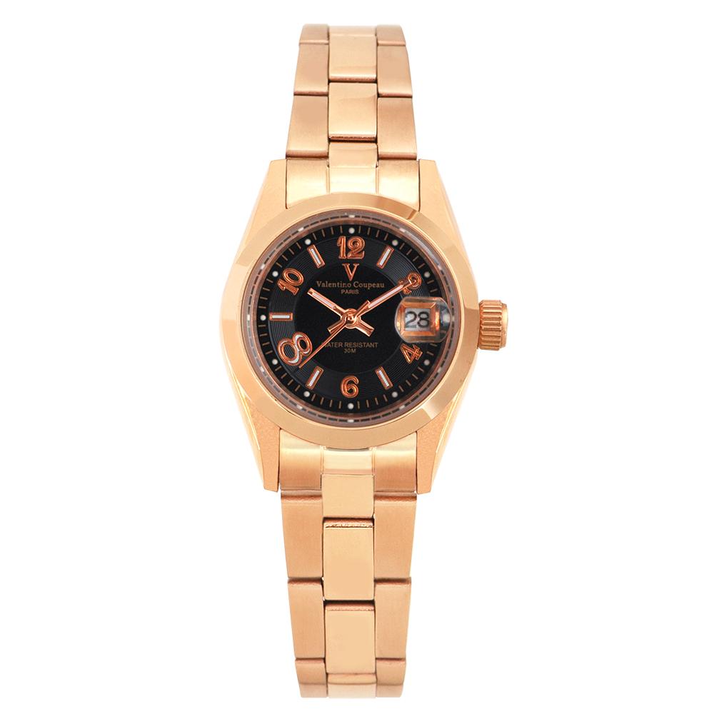 Valentino Coupeau 范倫鐵諾 古柏 都會數字腕錶 (全玫/黑面/女錶)