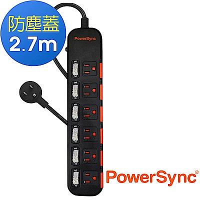 群加 PowerSync 六開六插滑蓋防塵延長線/2.7m(TPS366DN0027)