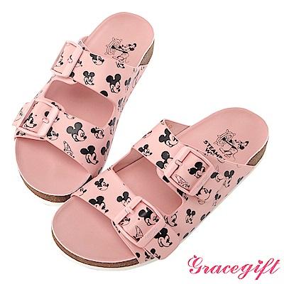 Disney collection by gracegift滿版雙帶飾釦平底涼鞋-粉