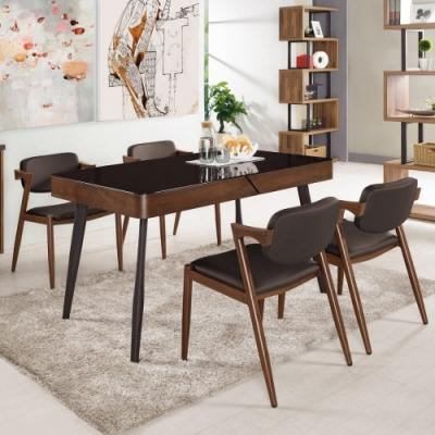 MUNA 蓋文4.5尺玻璃餐桌(1桌4椅)衛里皮餐椅  135X80X75.5cm