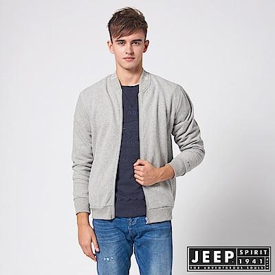 JEEP 休閒運動風棒球領外套 -灰色