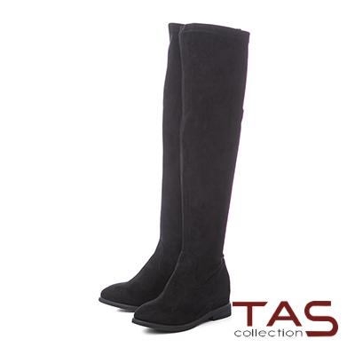 TAS後水鑽皮帶扣素面美腿膝上靴–經典黑