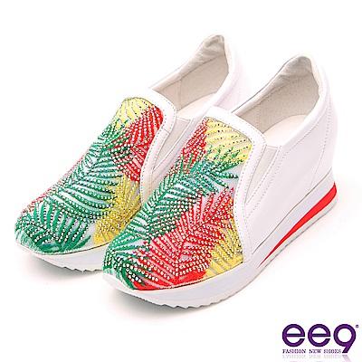 ee9 耀眼光芒異材質拼接鑲鑽內增高休閒鞋 白色