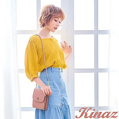 KINAZ 清秀身影鏈帶斜背包-珊瑚粉-常春藤系列