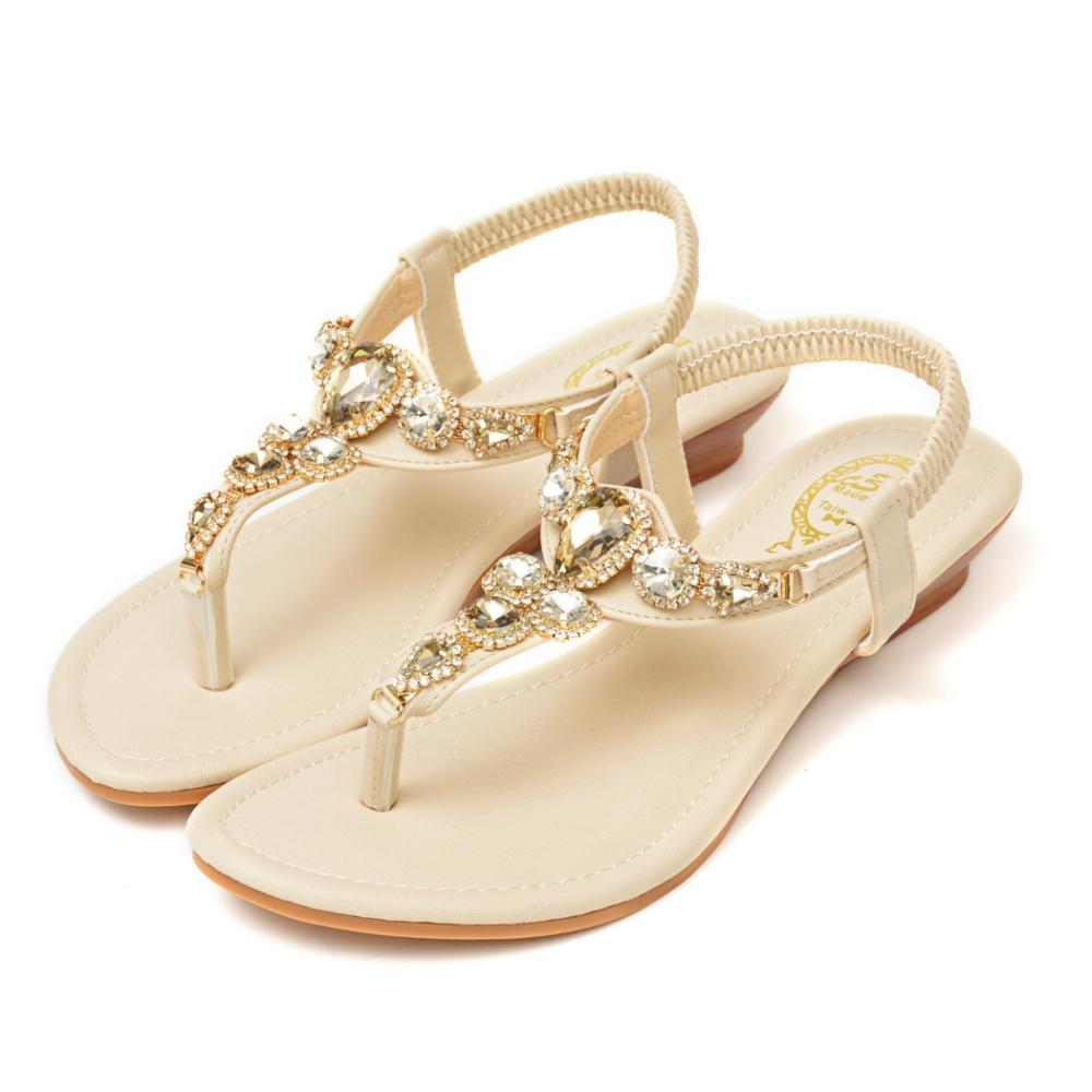 山打努SANDARU-涼鞋 寶石水鑽夾腳平底鞋 (米)