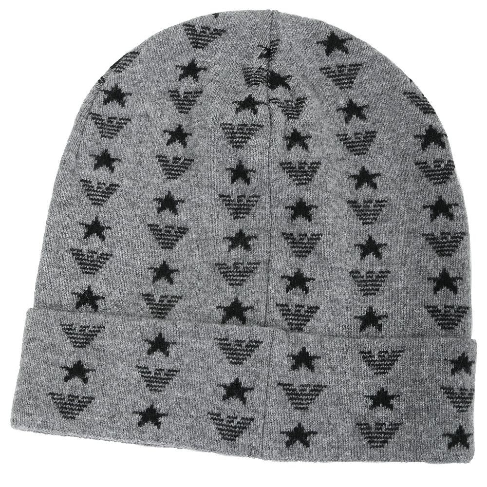 Emporio Armani EA 老鷹星星徽標針織羊毛帽(灰色)