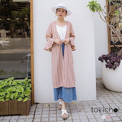 東京著衣  知性慵懶喇叭袖條紋長版罩衫-S.M.L(共兩色)