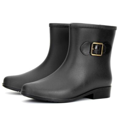 KEITH-WILL時尚鞋館 歐美時尚多功能雨鞋雨靴短靴-黑