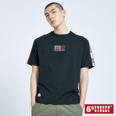 5th STREET 雙色印花 拉克蘭袖T恤-男-黑色