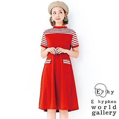 E hyphen mer 6月號揭載款-條紋拼接圓領連身洋裝