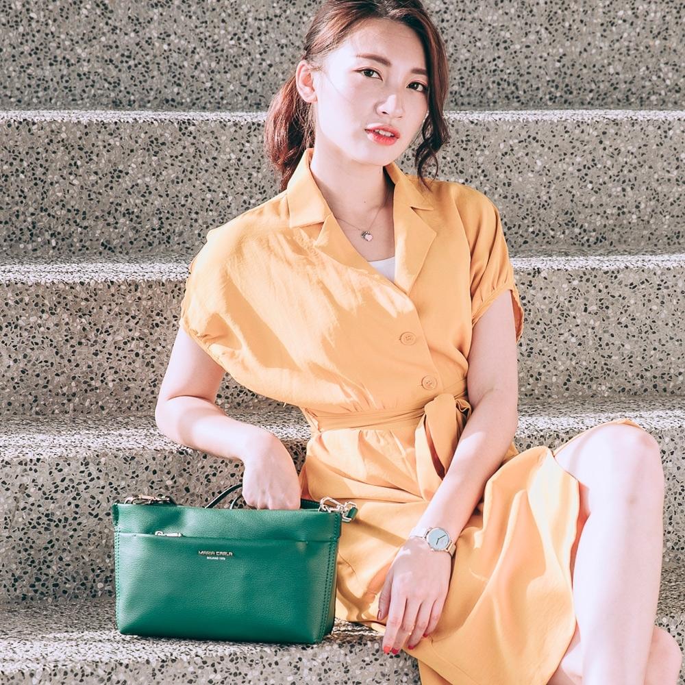 【Maria Carla】多格層素色質感側背包_松花綠_都會極簡系列