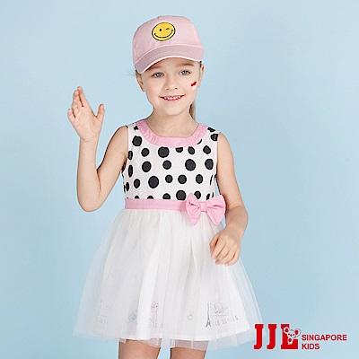 JJLKIDS 甜蜜巴黎點點蝴蝶結網紗無袖洋裝(白色)