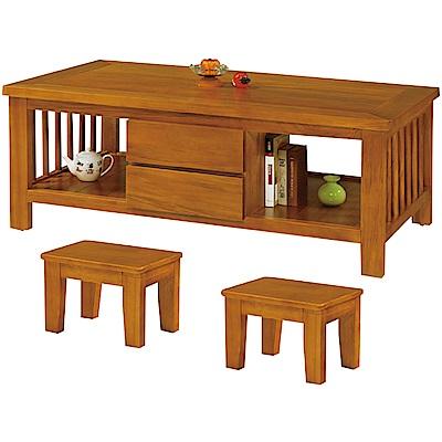 綠活居 麥尼時尚4.7尺實木大茶几(附贈椅凳二張)-140x76x53cm免組
