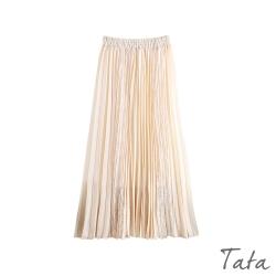 雪紡拼接蕾絲百褶裙 共二色 TATA-F