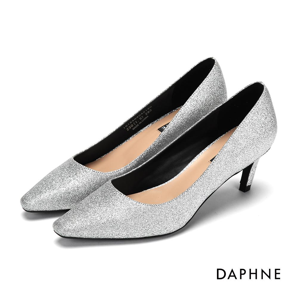 達芙妮DAPHNE 高跟鞋-金蔥亮片尖頭斜跟高跟鞋-銀