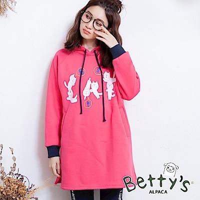 betty's貝蒂思 袖口配色貓咪印花刷毛T-shirt(紅色)