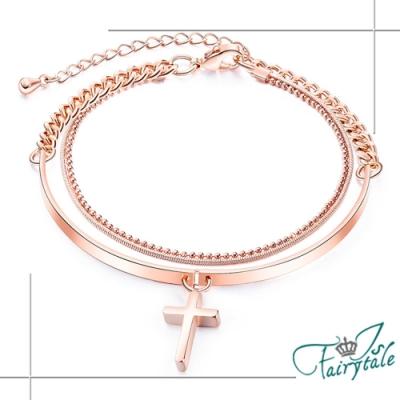 iSFairytale伊飾童話 信仰十字架 雙層玫瑰金細手鍊