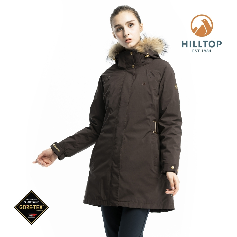 【hilltop山頂鳥】女款GORE-TEX二合一羽絨長大衣F21F80焙咖啡