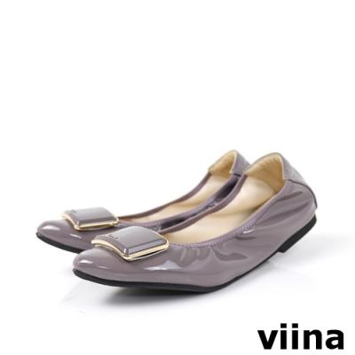 viina 尖頭鏡面烤漆金邊摺疊鞋-灰