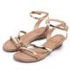MAGY 時尚穿搭必備款 超纖皮革金屬繫踝繞帶楔型涼鞋-棕色 product thumbnail 1