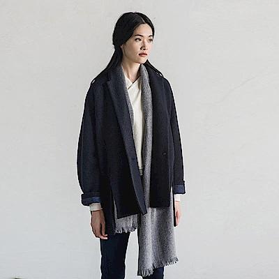 旅途原品_影奈_原創設計時尚西裝領毛呢大衣外套-深藍/紫