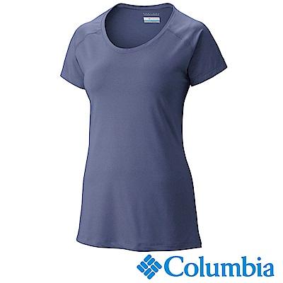 Columbia 哥倫比亞 女款-防曬50快排短袖上衣-藍紫色UAK16560UU