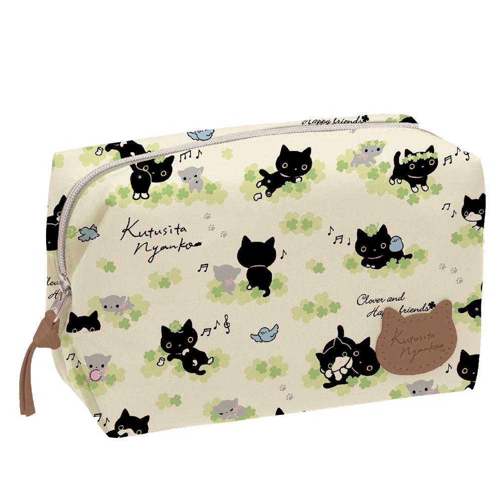 小襪貓貓朋友幸運草系列防水化妝包 San-X