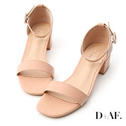 D+AF 完美夏日.一字繫踝方頭低跟涼鞋*粉