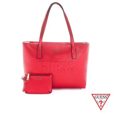 GUESS-女包-LOGO壓印皮革肩背托特包-紅 原價3090