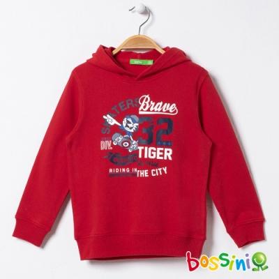 bossini男童-圖案連帽厚棉T恤01紅色
