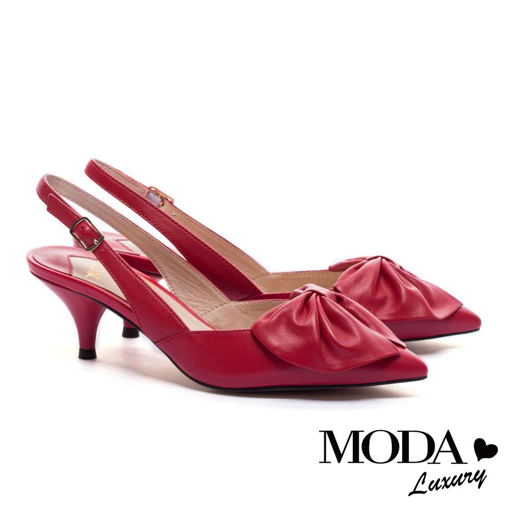 高跟鞋 MODA Luxury 浪漫巴黎簡約大蝴蝶結羊皮繫帶尖頭高跟鞋-紅