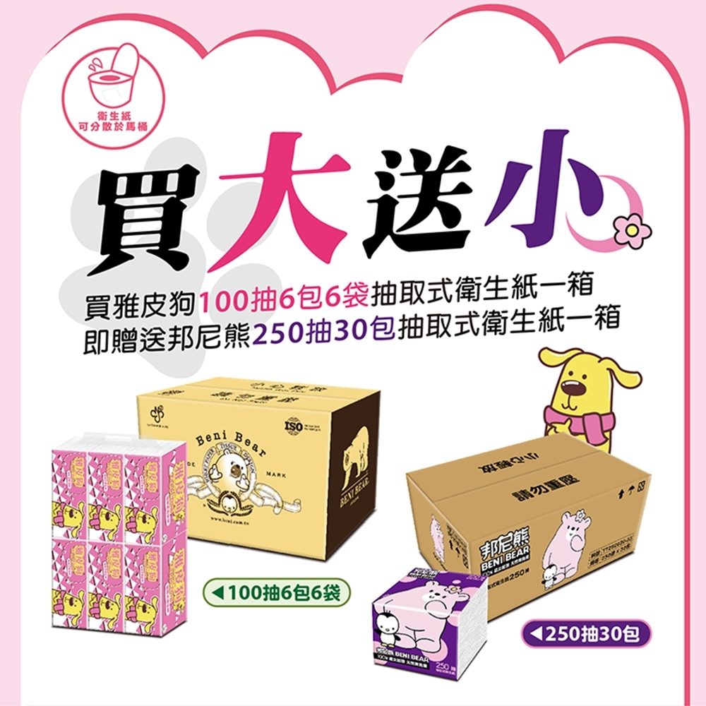[買一送一]雅皮狗抽取式衛生紙100抽36包/箱(桃紅版) 贈送 邦尼熊抽取式衛生紙250抽30入/箱(米粒版)