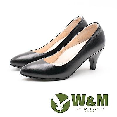 W&M 精緻淑女 尖頭低跟皮鞋 女鞋-黑