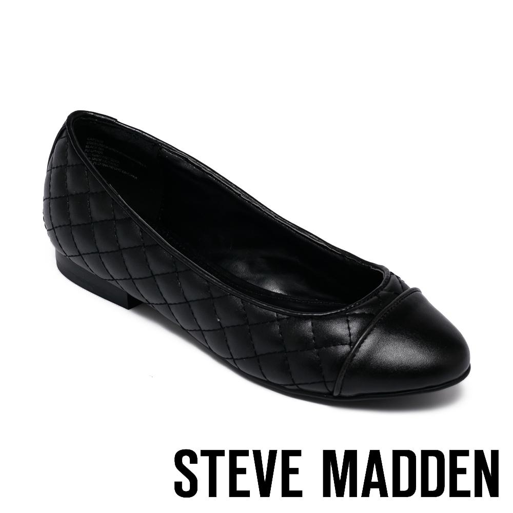 STEVE MADDEN-CAPTION 拼接菱格紋皮質平底女鞋-黑色