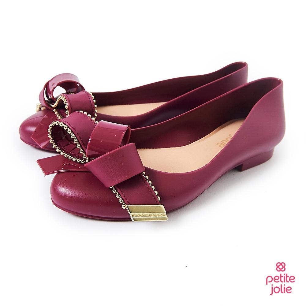 Petite Jolie--優雅結飾果凍娃娃鞋-酒紅