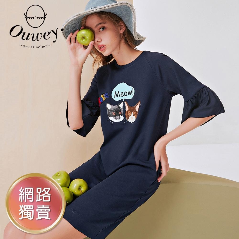 OUWEY歐薇 可愛貓咪膠印公主袖連身裙(黑/深藍)3212167010