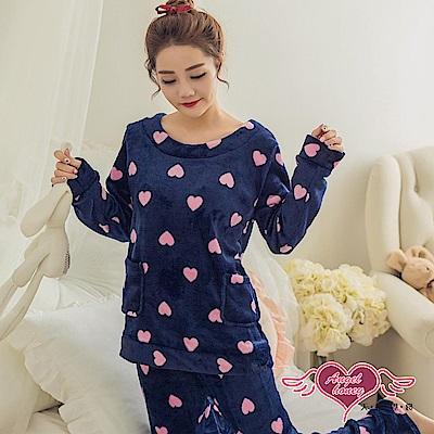保暖睡衣 可愛甜心 法蘭絨二件式長袖成套休閒服(深藍F)AngelHoney天使霓裳
