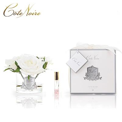 法國 CoteNoire 蔻特蘭 五朵象牙白玫瑰香氛花透明瓶